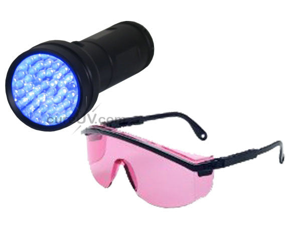 51-LED Portable UV Inspection Flashlight 7202UV395 and Safety Glasses
