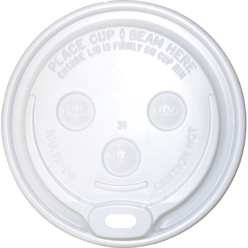 "PRDOMECPC12-20 WHITE dome ""sip-thru"" lid"