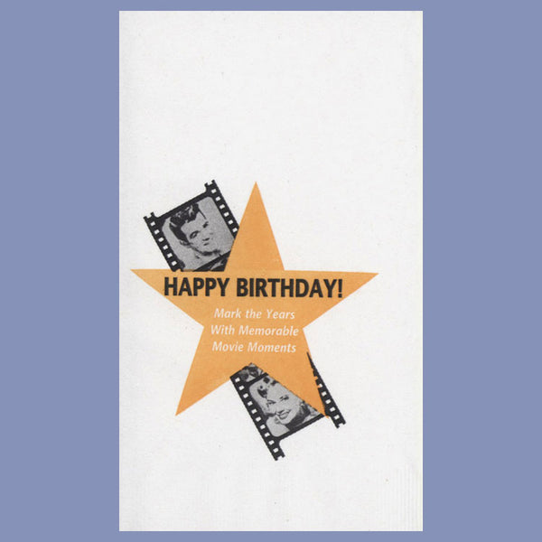 BIRTHDAY MOVIE STAR 2-Ply White Dinner Napkin JD3032BM