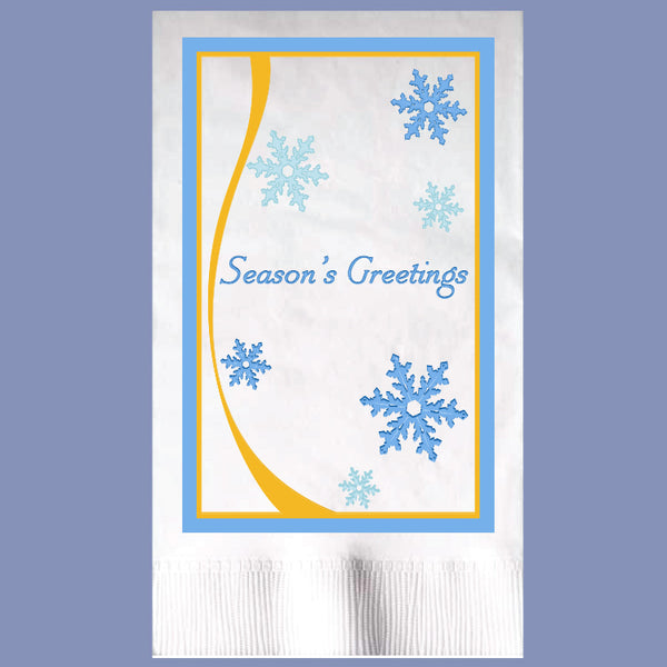 WINTER SEASON GREETING 2-Ply White Dinner Napkin JD3288SE