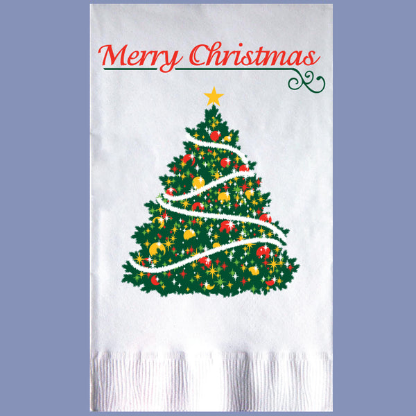 CHRISTMAS TREE 2-Ply White Dinner Napkin JD3290TR