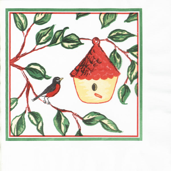 EVERYDAY BIRDHOUSES 2-Ply White Lunch Napkin JL2034BI