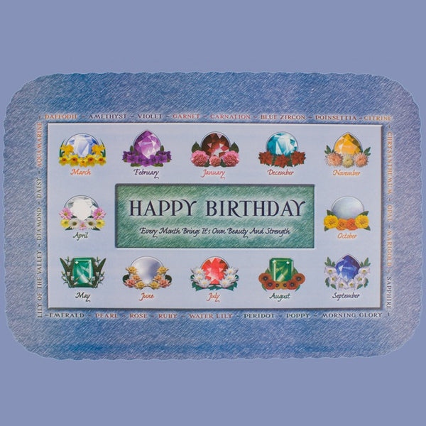 BIRTHDAY BIRTHSTONES Tray Cover 12X16 CLEARANCE JT9414BI