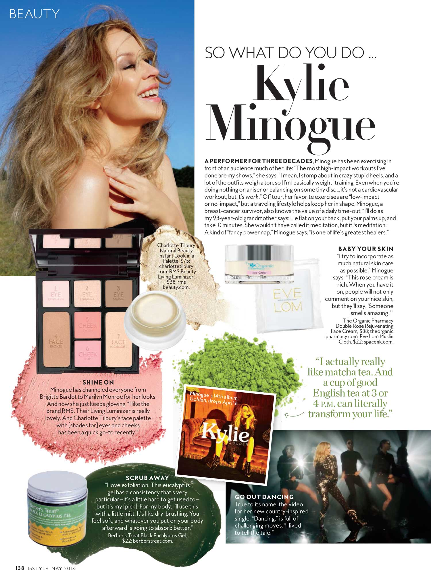 Berber's Treat Black Eucalyptus Gel Mentioned in InStyle Magazine - Kylie Minogue
