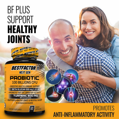 VERY POPULAR - 2 MONTHS SUPPLY -  BESTFACTOR PLUS NEXT GEN - IMMUNE SYSTEM BOOSTER PROBIOTICS SUPPLEMENT FOR WOMEN & MEN WITH 100 BILLIONS CFU, TURMERIC 95% CURCUMINOIDS 500 MG & BETA GLUCAN 500 MG - DIGESTIVE HEALTH - JOINTS SUPPORT - IMMUNE SOLUTION