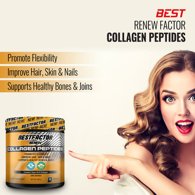 GOOD VALUE - 1 MONTH SUPPLY - BESTFACTOR RENEW COLLAGEN PEPTIDES HYDROLYZED PROTEIN POWDER BY BEST FACTOR - FOR VITAL JOINT & BONE SUPPORT, GLOWING SKIN, STRONG HAIR & NAILS, DIGESTIVE HEALTH - GRASS FED & PASTURE RAISED.