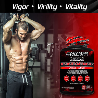 VERY POPULAR - 2 MONTHS SUPPLY - BESTFACTOR VIGOR TESTOSTERONE BOOSTER PILLS FOR MEN BY BEST FACTOR(100 VEGGIE CAPS). TEST BOOSTER SUPPLEMENT FOR STAMINA & STRENGTH - ENHANCE SEX DRIVE & LIBIDO - PROMOTES WEIGHT LOSS & FAT BURNING.