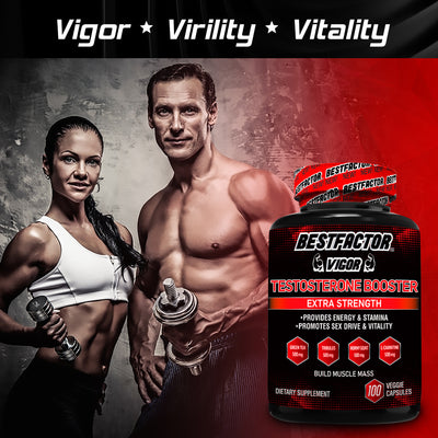 GOOD VALUE - 1 MONTH SUPPLY - BESTFACTOR VIGOR TESTOSTERONE BOOSTER PILLS FOR MEN BY BEST FACTOR(100 VEGGIE CAPS). TEST BOOSTER SUPPLEMENT FOR STAMINA & STRENGTH - ENHANCE SEX DRIVE & LIBIDO - PROMOTES WEIGHT LOSS & FAT BURNING.