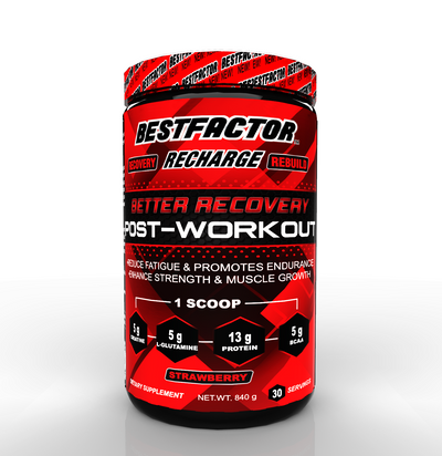 MOST EFFECTIVE - 3 MONTHS SUPPLY - BESTFACTOR RECHARGE POST WORKOUT PROTEIN POWDER WITH BCAA, CREATINE AND L-GLUTAMINE BY BEST FACTOR. MUSCLE BUILDING RECOVERY POWDER FOR MEN AND WOMEN (STRAWBERRY). REDUCE FATIGUE - 30 SERVINGS