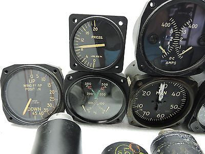 Lot of 15 US Military Aircraft Instruments: VSI, Manifold, Oil, Fuel, BMEP, etc.