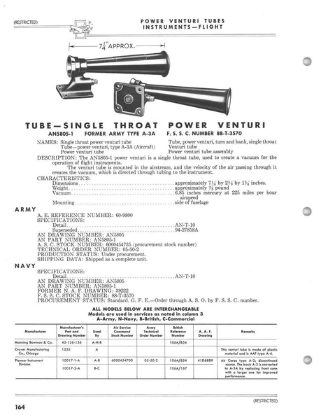 Power Venturi Tube, Single Throat, AN5805-1, Type A-3A