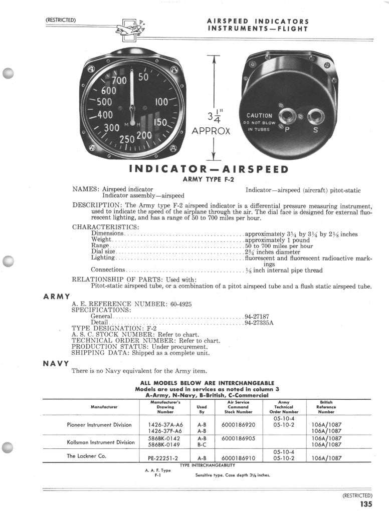 Airspeed Indicator, 700MPH, Army Type F-2, US Army Air