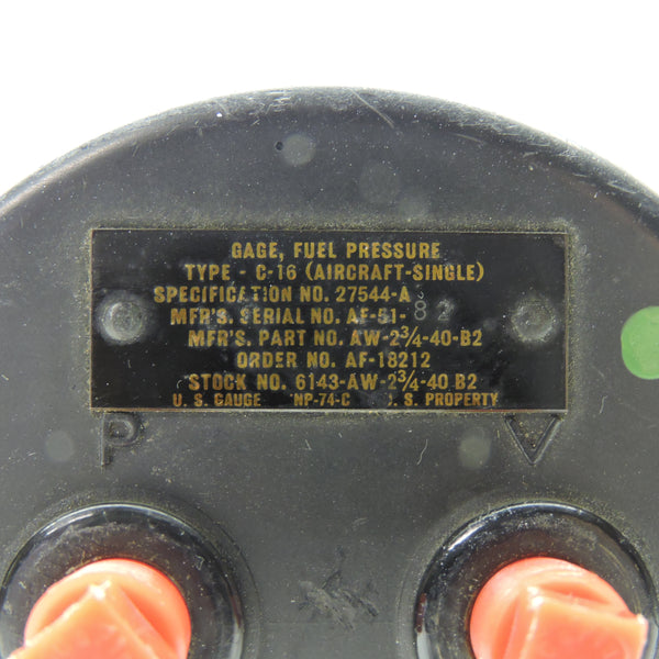 Fuel Pressure Indicator, Type C-16, US Air Force