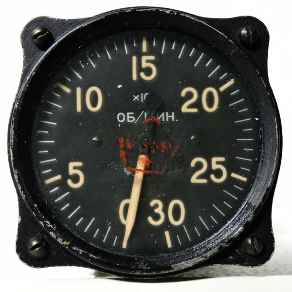 Tachometer, USSR, Soviet, 3000 RPM  I-16(?) Fighter