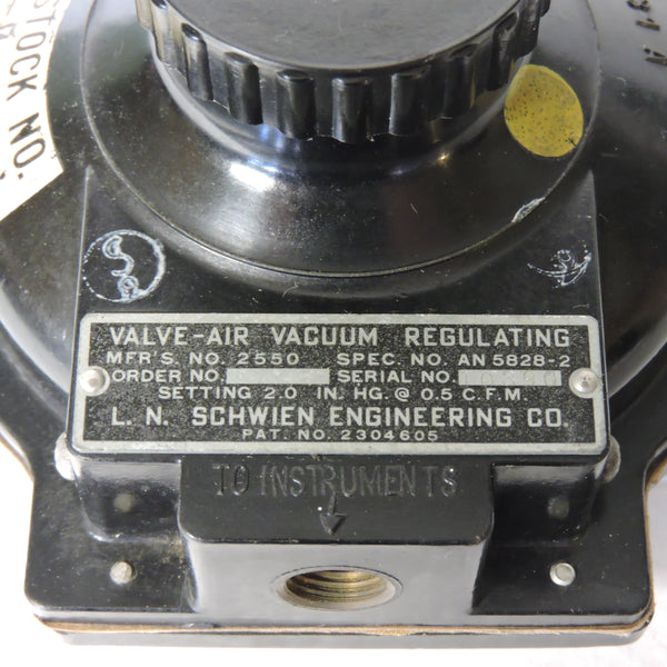 Valve, Air Vacuum Regulating AN5828-2, US Navy R88-V-85X Instruments