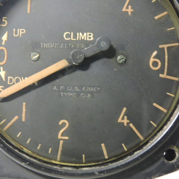 Rate of Climb / Vertical Speed Indicator, 6000 ft/min, Type C-2, US Army Air Force