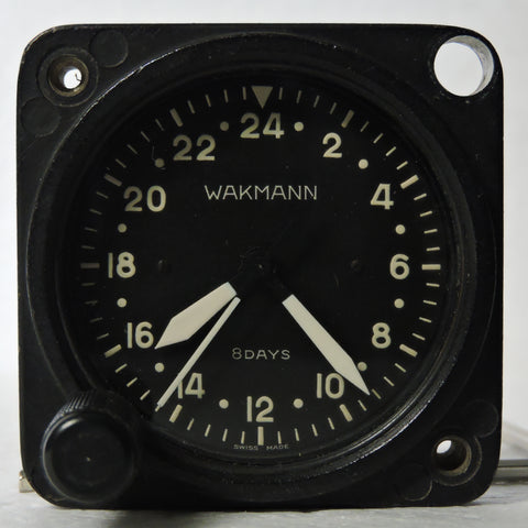 Aircraft Clock, 24 Hour, 8 Day Wakmann Model A-11-24