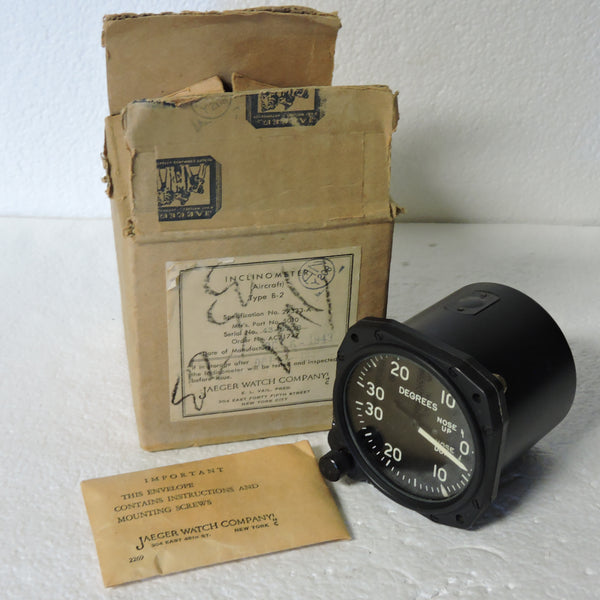 Inclinometer, Type B-2, Jaeger, B-24 Liberator, NOS