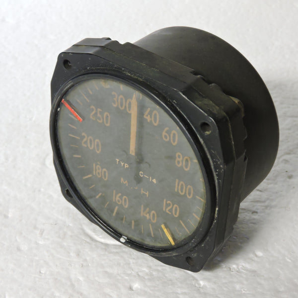 Airspeed Indicator,300MPH, Army Type C-14, US Army Air Force, WWII