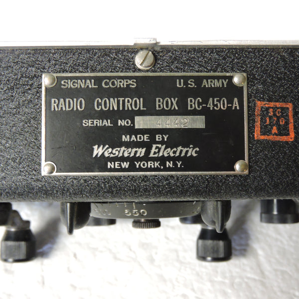 Radio Control Box BC-450A for SCR-274 Airborne Radio Set