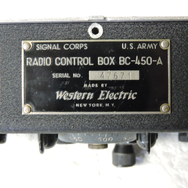 Radio Control Box BC-450A for SCR-274 Radio Set (with replacement crank)
