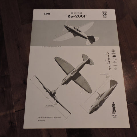 Recognition Posters, Italian Aircraft Collection of 4 Posters, US Navy 1942