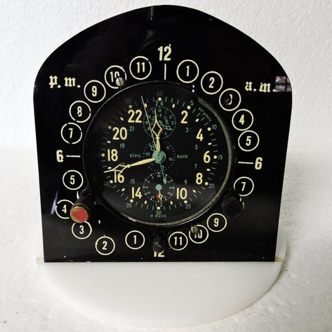 Aircraft Clock, Jaeger LeCoultre A-10 Chronoflite Elapsed Time Chronograph, US Navy