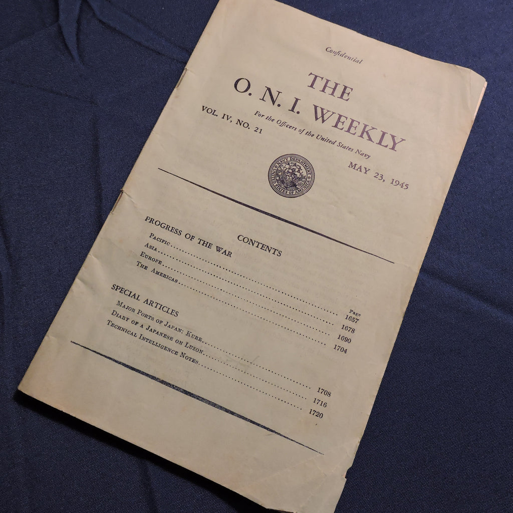 The ONI Weekly Briefing, Office of Naval Intelligence, May 23, 1945