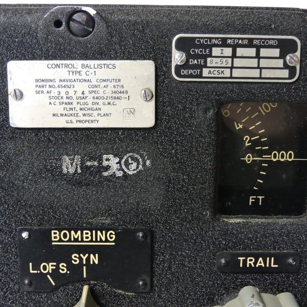 Ballistics Control Panel C-1, K-Series Bombing Navigational Computer, B-36 Peacemaker