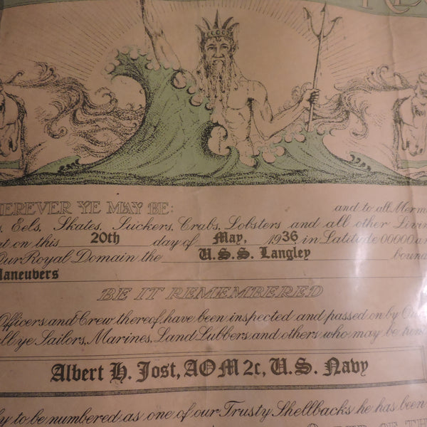 Shellback Certificate, US Langley Aircraft Carrier, 1936