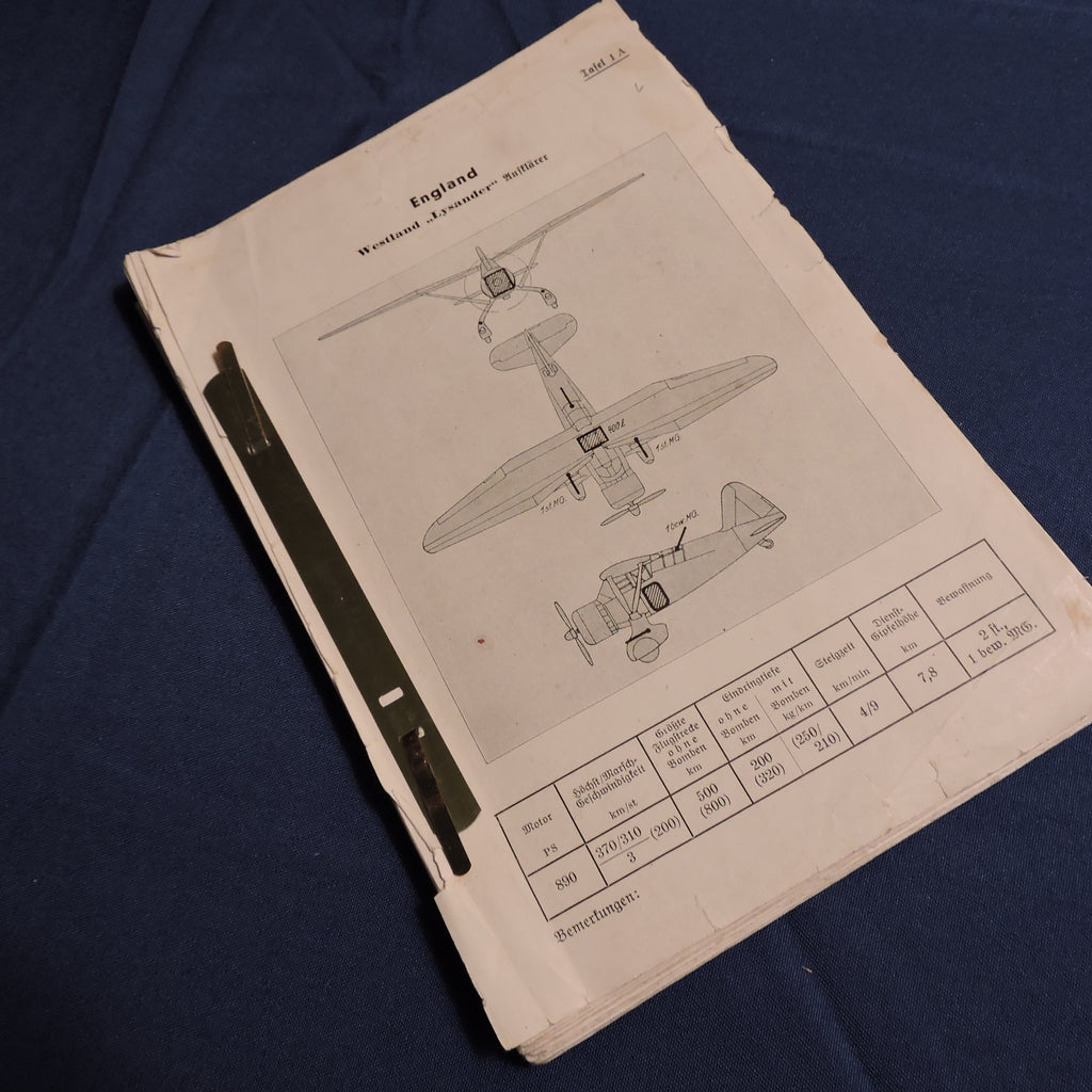 "Aircraft Recognition Manual, German for RAF Aircraft, ""Britische Flugzeuge Erkennungshandbuch"""