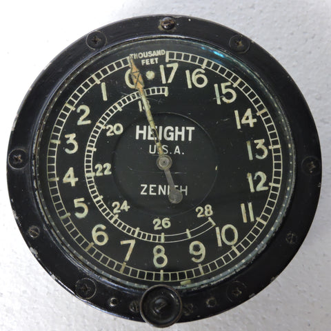 Altimeter, Simple, 28,000 FT., Zenith WWI and/or Post WWI
