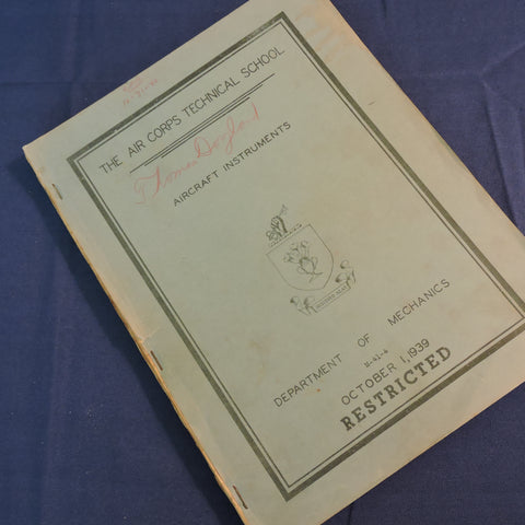 Aircraft Instruments Technical Instructions, Air Corps Technical School, 1939
