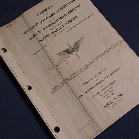 B-17B Flying Fortress Handbook of Operation and Flight Instructions 1940