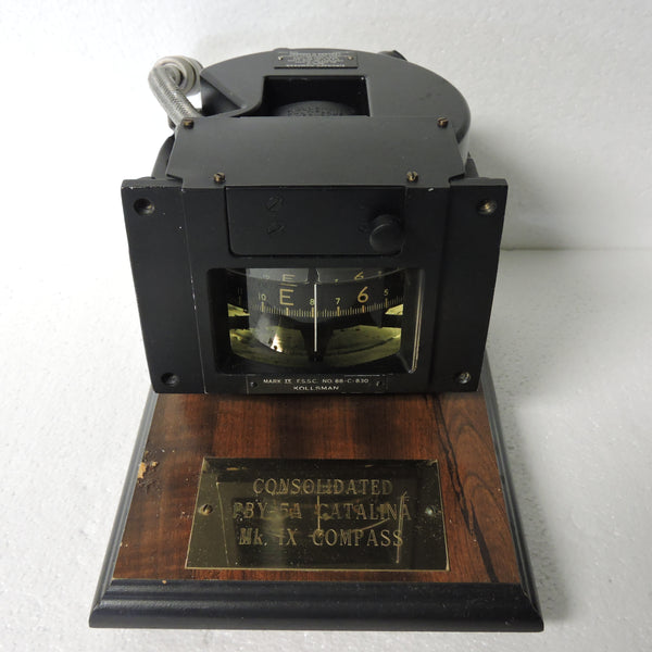 Compass, Magnetic Direct Reading, US Navy Mark IX with Plaque
