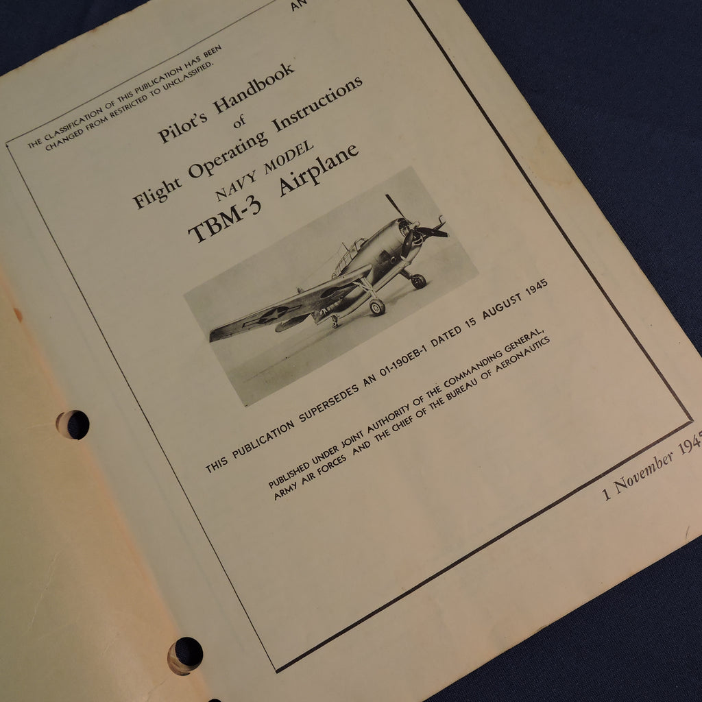 TBM-3 Avenger Torpedo Bomber Pilot's Handbook of Flight Operating Instructions 1945