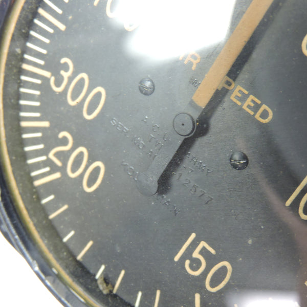 Airspeed Indicator, 500MPH, Army Type D-7, US Army Air Corps, WWII