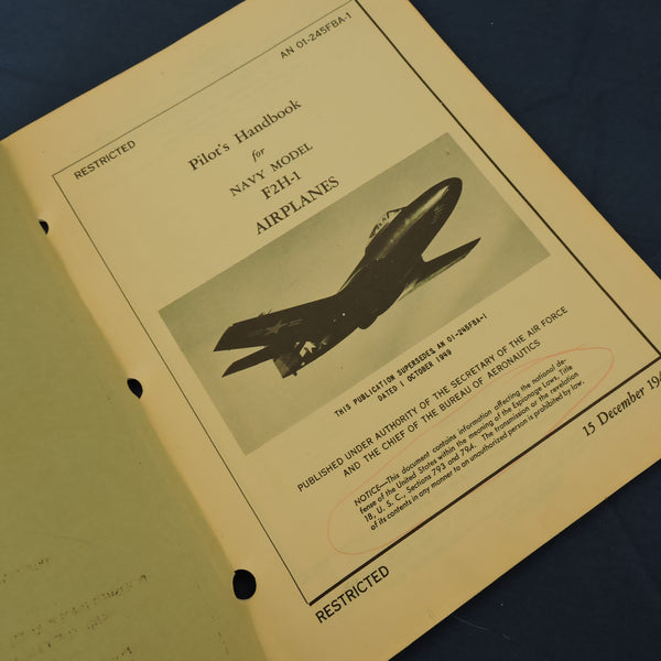 F2H-1 Banshee Fighter Pilot Handbooks, Set of 4: Nov 1948, Jun, Oct, Dec 1949