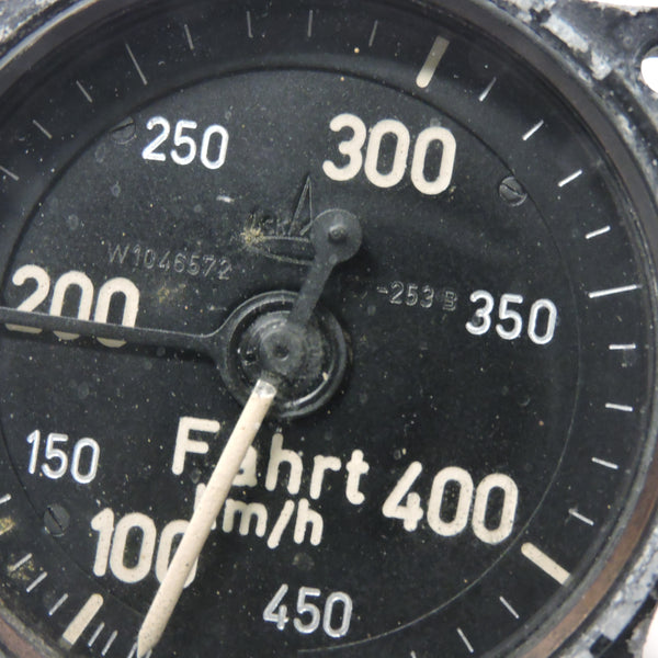 "Airspeed Indicator (for the Patin ""Dreiachsensteuerung""), 450 km/hr, Luftwaffe"