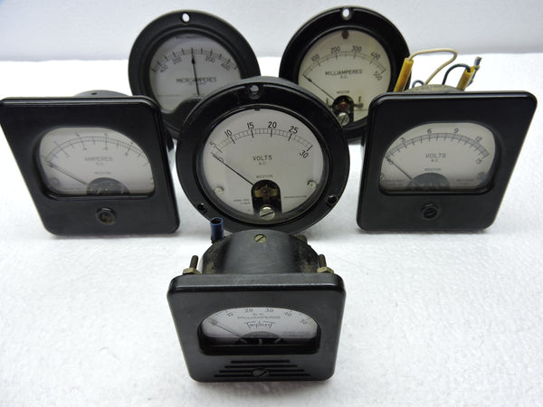 Ammeters, Voltmeters, Lot of 6, Volts, Amps, Microamps, & Milliamps, Weston, Triplett