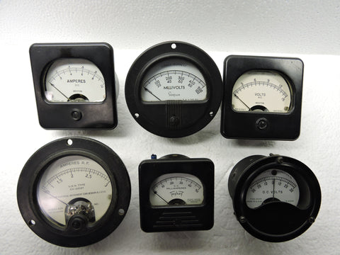 Ammeters, Voltmeters, Lot of 6, Volts, Amps, Milliamps, & Millivolts, Weston, Triplett