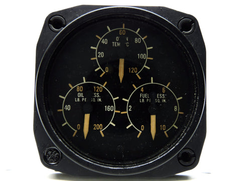 Engine Triple Gage: Oil Pressure, Oil-In Temp, Fuel Pressure, GE DJ3 RCAF