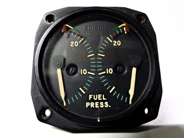 Fuel Pressure Indicator, Dual Engine, 0-25 PSI, AN-5772TIA US Navy