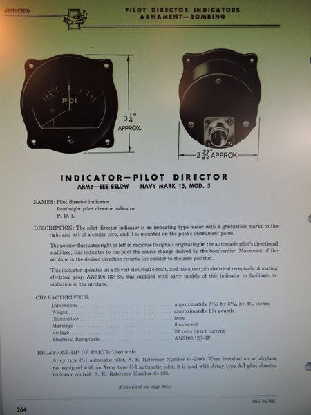 Pilot Director Indicator as used with C-1 Autopilot, WWII B-29, B-24. B-17