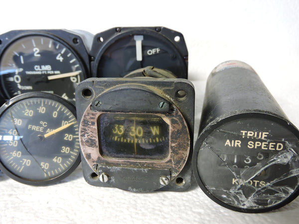 Lot of 9 US Military Aircraft Instruments: Airspeed, VSI, Compass, Turn & Bank, etc.