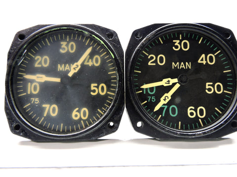Manifold Pressure Gauge Set, Dual Engine, for 4 Engine Aircraft, Bendix, Constellation