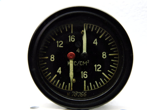 Brake Pressure Indicator, Dual, MiG-17 Fresco Fighter, USSR