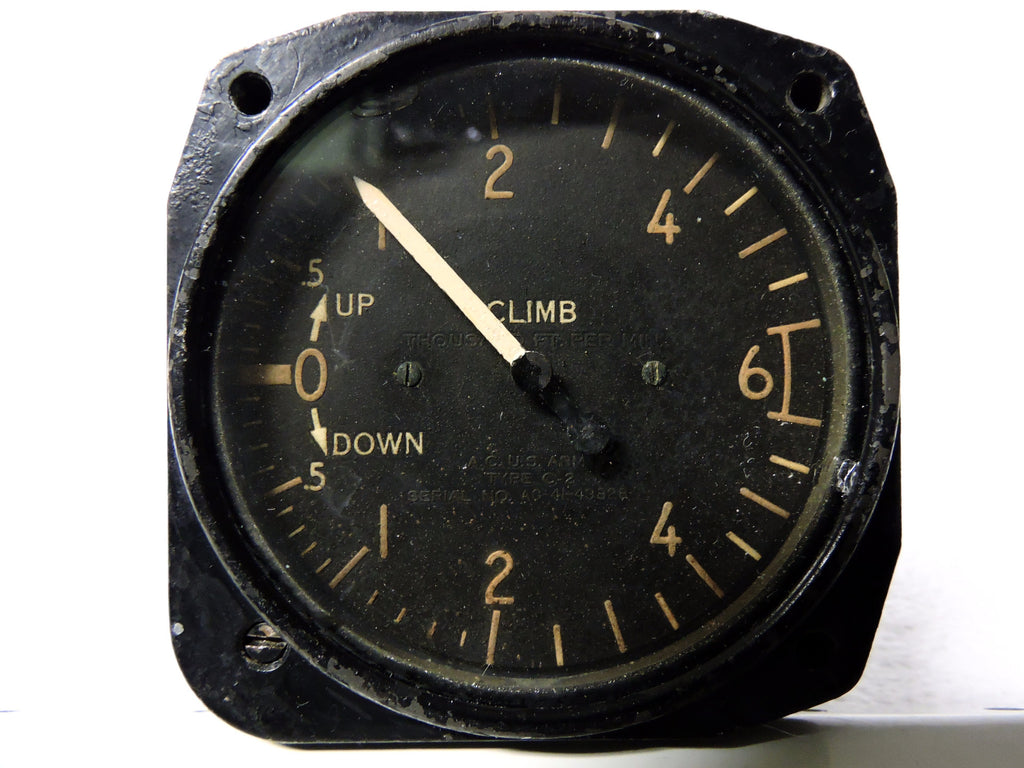 Rate of Climb / Vertical Speed Indicator, 6000 ft/min, Army Type C-2, US Army Air Corps, WWII