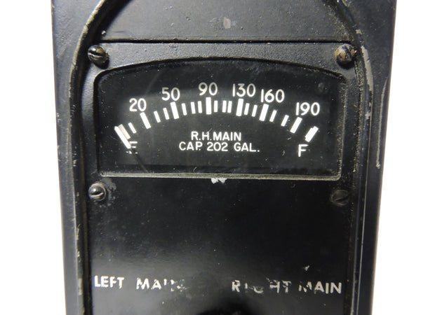 Fuel Quantity Indicator, Four Tanks, C-47 Skytrain, Dakota, WWII