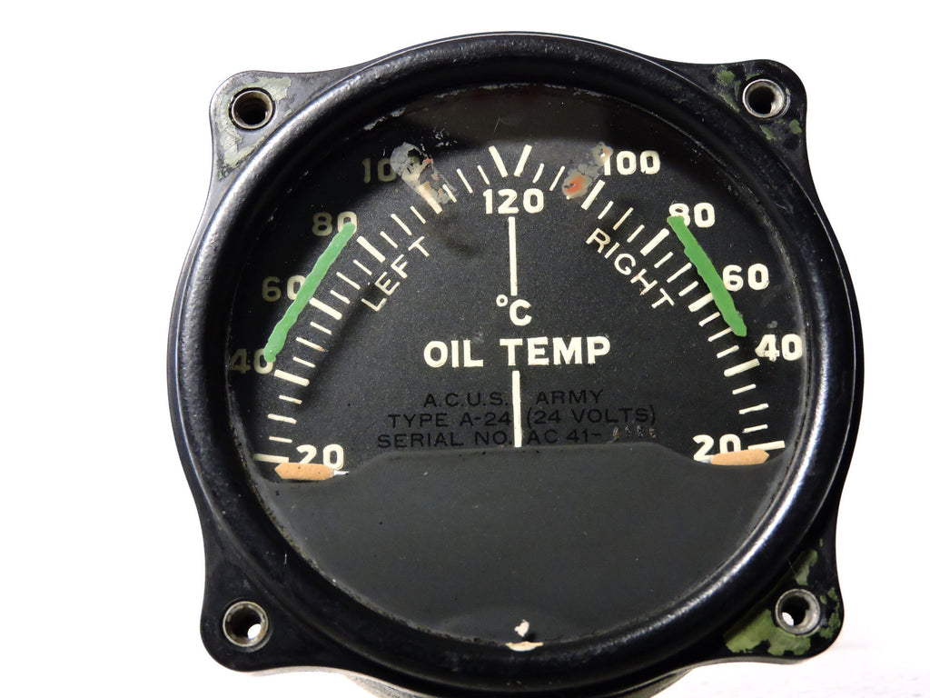 Oil Temperature Indicator, Dual Engine, Type A-24 US Army Air Corps WWII